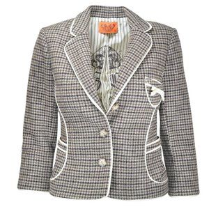 JUICY COUTURE Houndstooth wool blazer jacket
